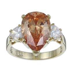 Lillith Star 14k Gold Overlay Pear-cut Champagne and Clear Cubic Zirconia Ring