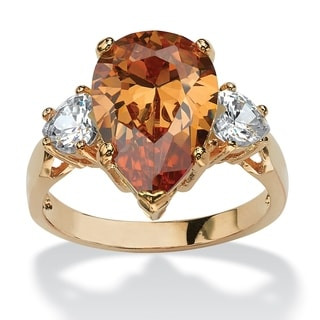PalmBeach 14k Gold Overlay Pear-cut Champagne and Clear Cubic Zirconia Ring Color Fun