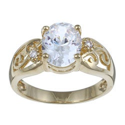 Ultimate CZ 14k Gold Overlay Clear Cubic Zirconia Filigree Ring
