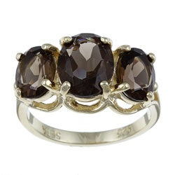 Angelina D'Andrea 18k Gold over Sterling Silver Smokey Quartz 3-stone Ring