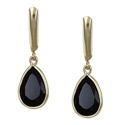 Angelina D'Andrea 14k Gold Overlay Black Onyx Earrings