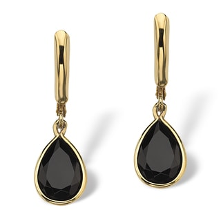 PalmBeach Pear-Shaped Genuine Onyx 14k Yellow Gold-Plated Drop Earrings Naturalist