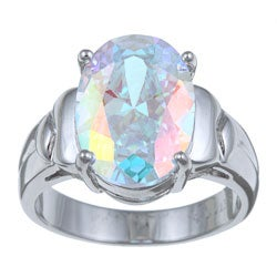 PalmBeach Sterling Silver Oval-cut Cubic Zirconia Aurora Borealis Ring Color Fun