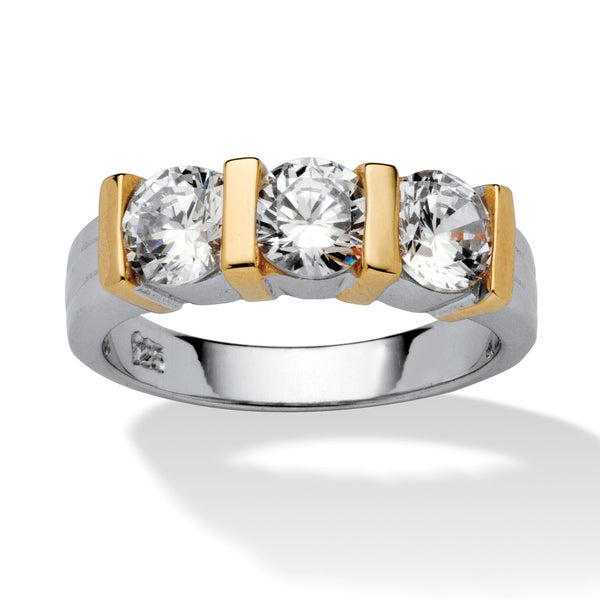 PalmBeach 1.50 TCW Bar-Set Cubic Zirconia Two-Tone Bridal Ring in Sterling Silver with Golden Accents Classic CZ