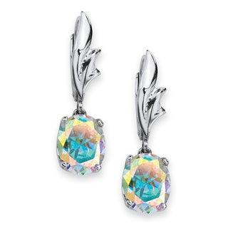 PalmBeach Sterling Silver Aurora Borealis Cubic Zirconia Dangle Earrings Color Fun