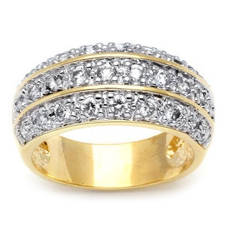 Ultimate CZ 14k Two-tone Gold Overlay Cubic Zirconia Ring