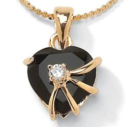 Angelina D'Andrea 14k Gold Overlay Onyx and CZ Heart Necklace