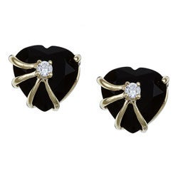 Angelina D'Andrea 14k Gold Overlay Heart-cut Onyx and Cubic Zirconia Earrings