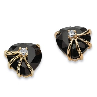 Yellow Gold-Plated Heart Shaped Onyx and Round Stud Earrings Cubic Zirconia (1/8 cttw)