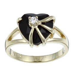 Angelina D'Andrea 14k Gold Overlay Heart-cut Black Onyx and Cubic Zirconia Ring