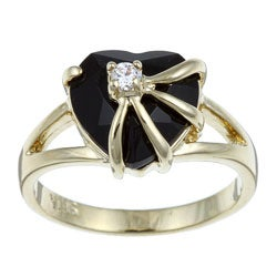 PalmBeach 14k Gold Overlay Heart-cut Black Onyx and Cubic Zirconia Ring Naturalist