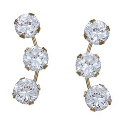 PalmBeach CZ 14k Yellow Gold Clear Cubic Zirconia Stud Earrings Classic CZ