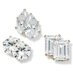 PalmBeach CZ 18k Gold over Sterling Silver Cubic Zirconia 3-pair Earring Set Glam CZ