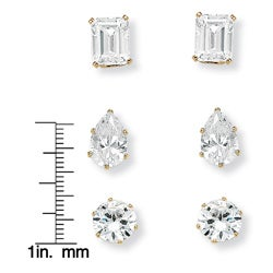 Ultimate CZ 18k Gold over Sterling Silver Cubic Zirconia 3-pair Earring Set
