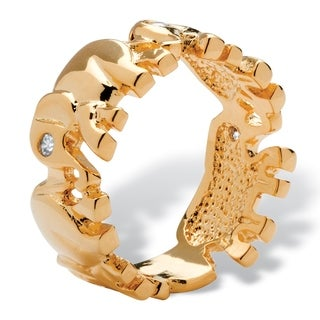 PalmBeach Round Cubic Zirconia 14k Yellow Gold-Plated Elephant Caravan Ring Glam CZ