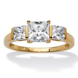 PalmBeach 1.94 TCW Princess-Cut Cubic Zirconia 10k Gold 3-Stone Bridal Engagement Anniversary Ring Classic CZ