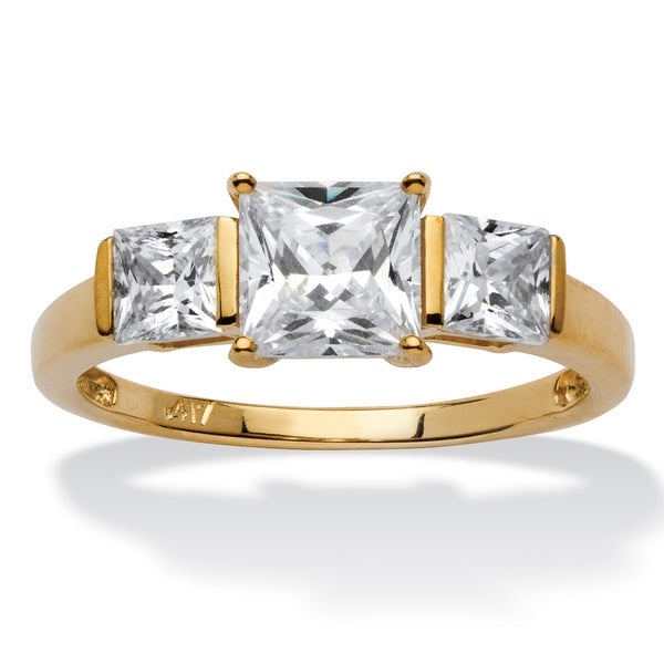 PalmBeach 1.94 TCW Princess-Cut Cubic Zirconia 10k Gold 3-Stone Bridal Engagement Anniversary Ring Classic CZ