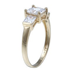Ultimate CZ 10K Yellow Gold Square-cut Cubic Zirconia Ring