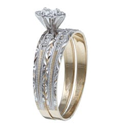 Isabella Collection 10k Gold 1/5ct TDW Diamond Wedding Band Set (I-J, I2-I3)