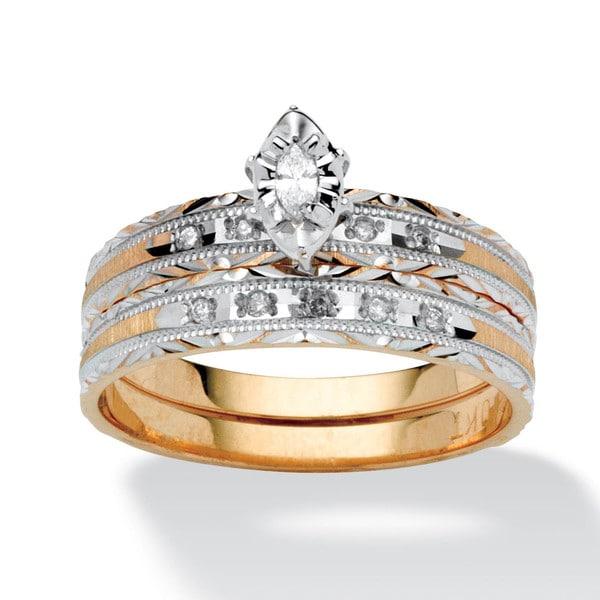 PalmBeach 10k Gold 1/5ct TDW Diamond Wedding Band Set (I-J, I2-I3)