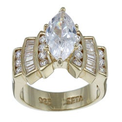 PalmBeach CZ 18k Gold over Silver Cubic Zirconia Ring Classic CZ