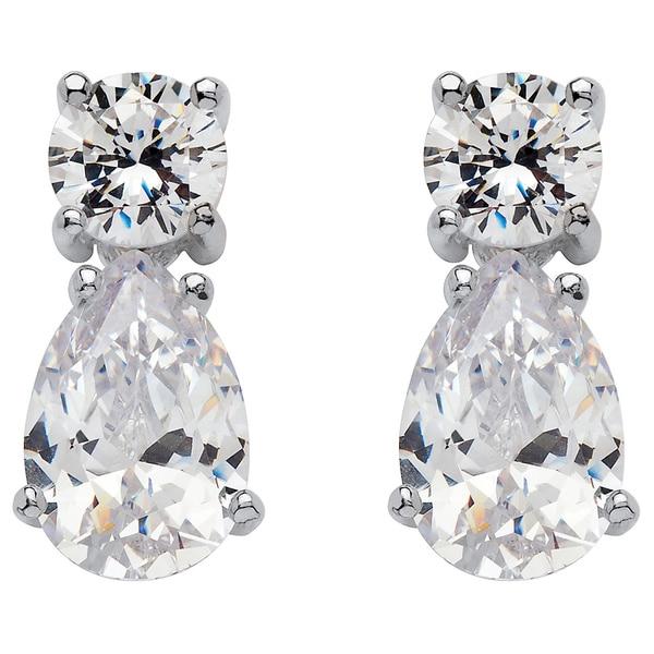 PalmBeach CZ Sterling Silver Cubic Zirconia Drop Earrings Glam CZ