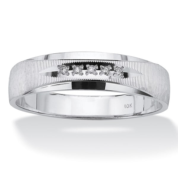 PalmBeach Men's Diamond Accent 10k White Gold Polished and Laser-Cut Wedding Band Ring