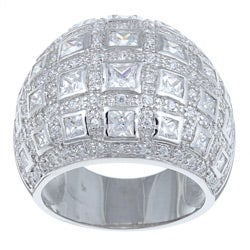 Ultimate CZ Sterling Silver Clear Cubic Zirconia Dome-style Ring