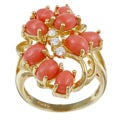 Angelina D'Andrea 18k Gold over Sterling Silver Coral and Cubic Zirconia Cluster Ring