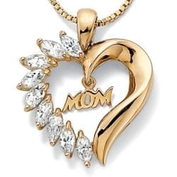 PalmBeach CZ 18k Gold over Sterling Silver Cubic Zirconia 'Mom' Heart Necklace Classic CZ