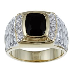 Ultimate CZ 18k Yellow Gold over Silver Men's Onyx and Cubic Zirconia Ring