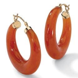 Angelina D'Andrea 14k Yellow Gold Red Jade Hoop Earrings