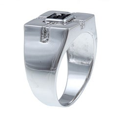 Neno Buscotti Sterling Silver Men's Sapphire and 1/10ct TDW Diamond Ring (H-I, I1-I2)