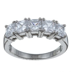 PalmBeach CZ Platinum over Silver Cubic Zirconia Ring Classic CZ