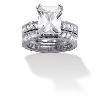 Ultimate CZ Sterling Silver Emerald-cut Cubic Zirconia Bridal Ring Set