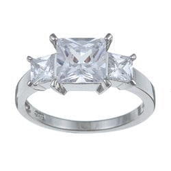 Ultimate CZ Platinum over Sterling Silver Square-cut Cubic Zirconia 3-stone Ring