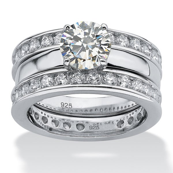 PalmBeach 3.28 TCW Round Cubic Zirconia Platinum over Sterling Silver Eternity Wedding Ring Band Set Classic CZ