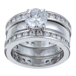 Ultimate CZ Platinum over Silver Cubic Zirconia 3-piece Bridal-style Ring Set