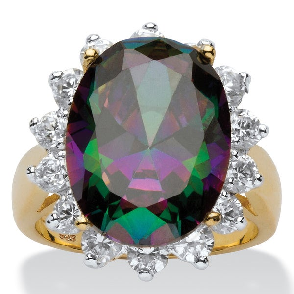 10.72 TCW Oval-Cut Mystic Colored Cubic Zirconia Ring in 18k Gold over .925 Sterling Silve 7200986