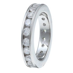 Ultimate CZ Platinum  over Silver Stackable Cubic Zirconia Eternity Band