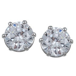 Ultimate CZ Platinum  over Sterling Silver Cubic Zirconia Stud Earrings