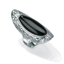Angelina D'Andrea Sterling Silver Reconstituted Onyx Scroll Ring