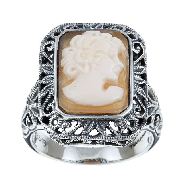 PalmBeach Genuine Shell Cameo Sterling Silver Antique-Finish Ring Naturalist