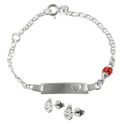 Journee Collection Sterling Silver Lady Bug Children's Bracelet/ Earring Set