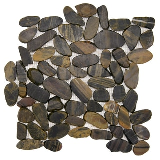 SomerTile 11.75x11.75-in Riverbed Flat Tiger Eye Natural Stone Mosaic Tile (Pack of 10)