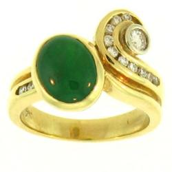 Mason Kay 18k Gold Jadeite Jade and 1/3ct TDW Diamond Ring (G-H, VSI-VS2)