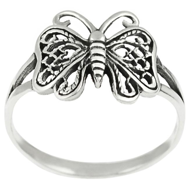 Journee Collection Sterling Silver Antique Butterfly Ring