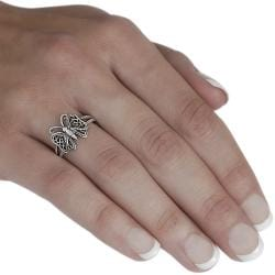 Tressa Sterling Silver Antique Butterfly Ring