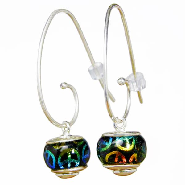 Silver Tie Dye Peace Signs on Black Dichroic Glass Earrings (Mexico)