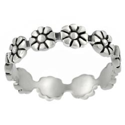 Tressa Sterling Silver Daisy Eternity Band